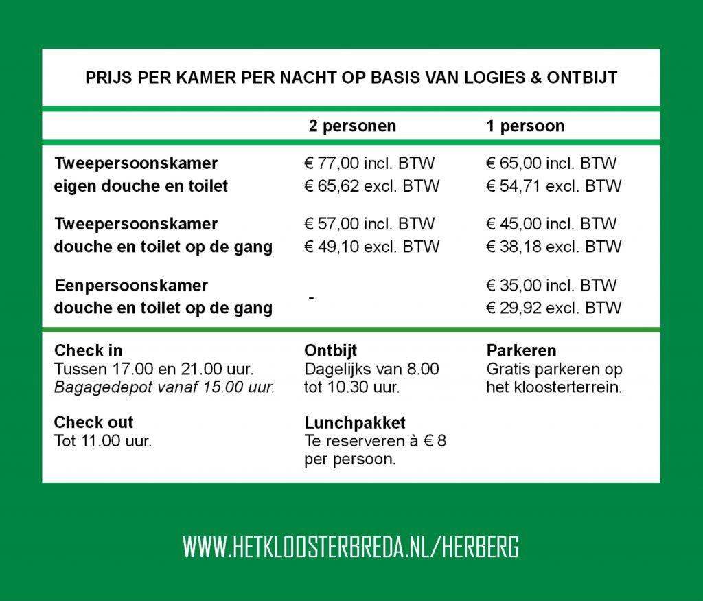 prijslijst overnachten herberg Het Klooster Breda