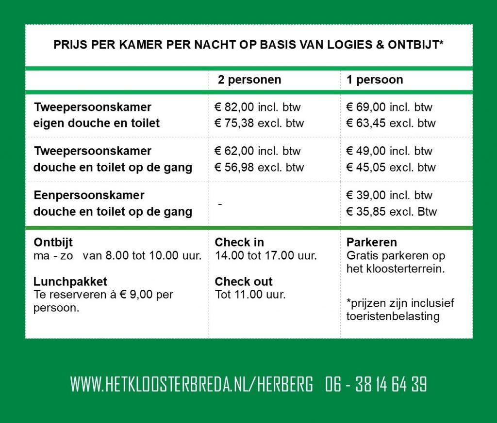 Prijslijst Herberg Het Klooster Breda